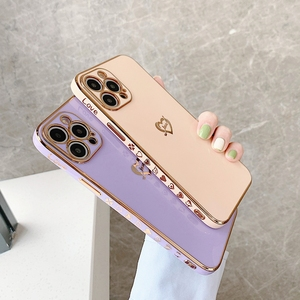 Image 2 - Electroplated Love Heart Phone Case For iPhone 11 12 Pro Max XS X XR 7 8 Plus Mini SE 2020 Soft Silicone Bumper Back Cover