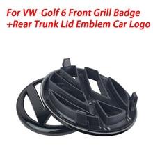 Gloss preto 135mm frente grill emblema + 110mm tronco traseiro tampa emblema logotipo do carro apto para vw golf mk6 2009-2013