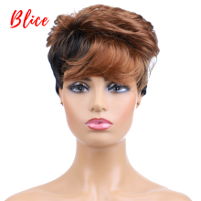 Blice Synthetic Hair Wigs Short Natural Wavy Wigs For Women Free Shipping Heat Resistant Mix Color 1B/30 Wig Black Brown