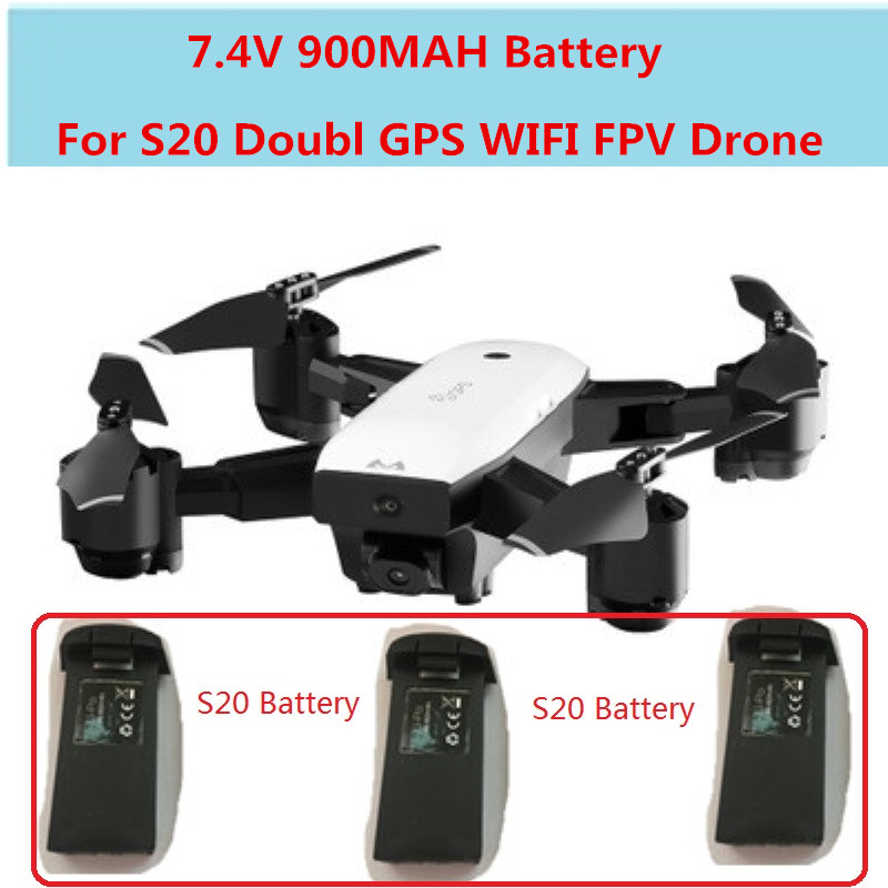 S20 Foldable Doubl GPS WIFI FPV <font><b>RC</b></font> Drone Spare Parts <font><b>Battery</b></font> 2pcs or 1pcs or 3pcs <font><b>Battery</b></font> <font><b>7.4V</b></font> <font><b>900MAH</b></font> Recharge <font><b>Battery</b></font> image