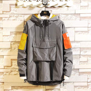Image 4 - Mens Anorak Jackets 2019 Men Hip Hop Outwear Autumn Fashion Hit Color Patchwork Casual Streetwear Male Jackette Outdoor Coat