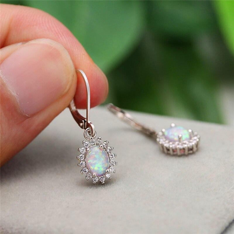 Blue/White Fire Opal Oval Stone Dangle Earrings White Gold White Zircon Drop Earrings For Women Wedding Bridal Luxury Jewelry