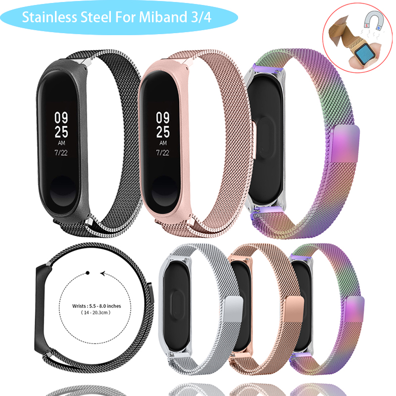 Magnetic Strap For Mi Band 4 3 Strap Metal Stainless Steel For Mi Band 4 3 Strap Compatible Bracelet For Miband 4 3 Wristbands