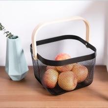 Wooden Handle Metal Basket Portable Multi-function Large Capacity Vegetable Groceries Fruit Medicine Practical Storage Basket