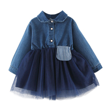 New Baby Girl Dress 0-3T New Autumn Sweet Lovely Solid Color Toddler Girls Clothes Long-sleeved Dress Mesh Stitching Denim Dress