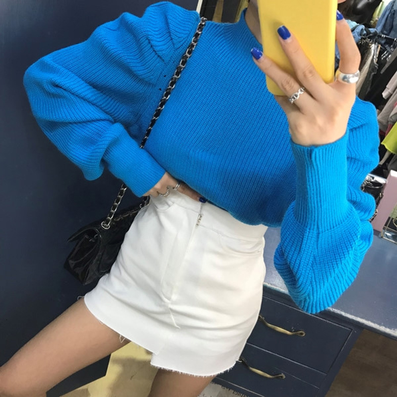 Korean Ruched Knitted Women's Sweaters O Neck Puff Long Sleeve Oversize Pullover Sweater Female 2020 Autumn Fashion New