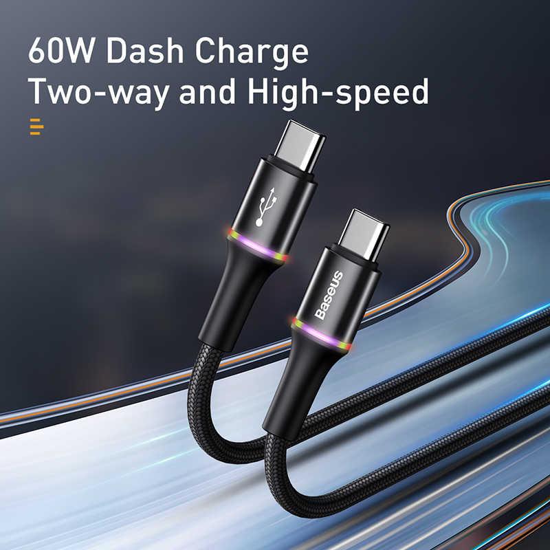 BASEUS Usb C untuk USB Tipe C Kabel untuk Redmi Note 10 Pro PD 60W QC 3.0 Cepat Charge USB-C Kabel untuk Xiaomi Redmi 8 Pro Samsung S9
