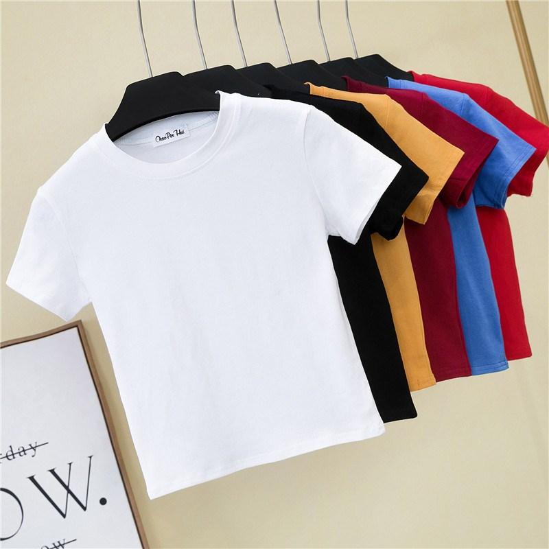 Crop Top T-Shirt Female Solid Cotton O-Neck Short Sleeve T-shirts For Women High Waist Slim Short Sport Blanc Femme T-Shirt
