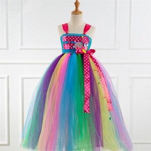 Image 4 - Fantezi gökkuşağı şeker kostüm Cosplay kızlar için cadılar bayramı kostüm çocuklar için karnaval parti takım kıyafet Up