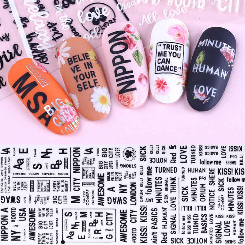 1 Sheet 3D Nail Stickers Black Geometric Flower Letter Patterns Adhesive Transfer Decals Nail Art DIY Design Decoration