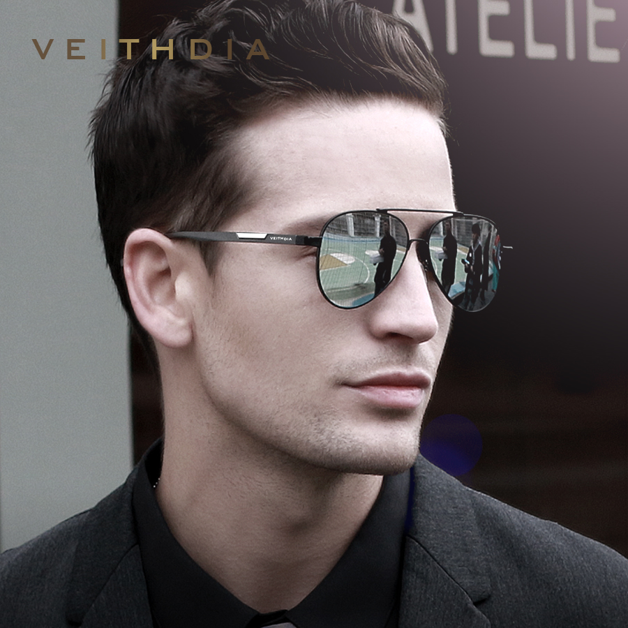 VEITHDIA Men's Aluminum Magnesium Photochromic Sunglasses Polarized UV400 Lens Eyewear Accessories Male Sun Glasses For Men 6699