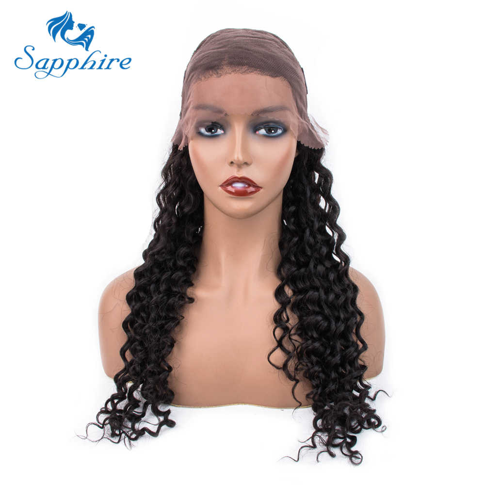 Sapphire Brazilian Deep Wave Curly Lace Front Human Hair Wigs PrePlucked Baby Hair Brazilian Human Hair Wigs For Black Women