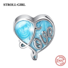 925 sterling silver Heart Shape beads Blue ocean charms fit original Pandora bracelet fashion diy jewelry Making for women gift стоимость