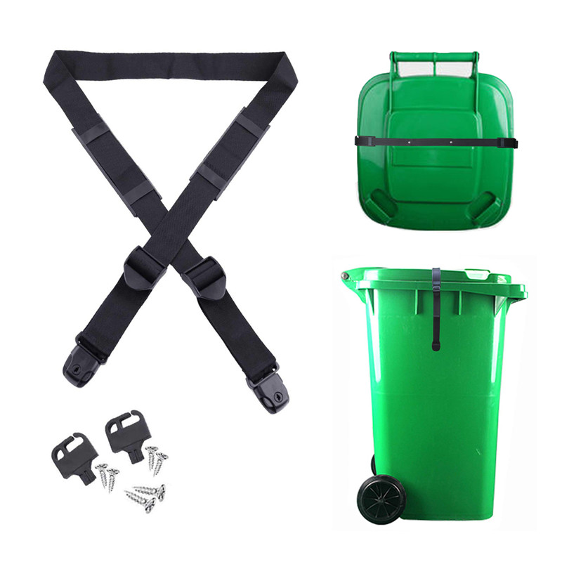 Trash Can Lid Strap Bin Strap Lock Garbage Can Security System No More Mess Fixed Garbage Cover Accessories*|Outdoor Tools| |  -