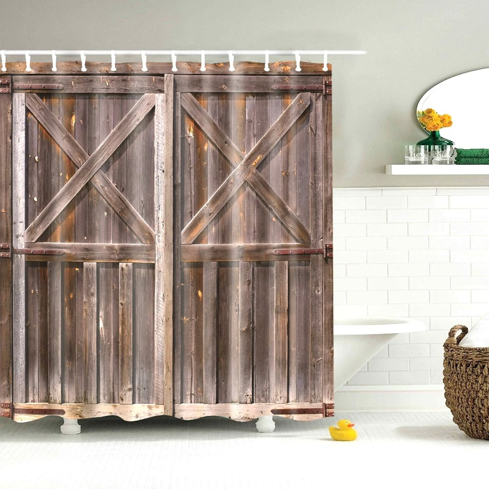 Image 4 - Dafield Fabric Rustic Vintage Old Wooden Door Decorations Bathroom Polyester Waterproof Washable Wood Door Shower Curtain-in Shower Curtains from Home & Garden