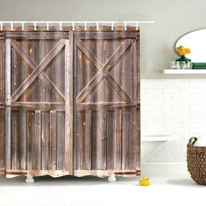 Image 4 - Dafield Fabric Rustic Vintage Old Wooden Door Decorations Bathroom Polyester Waterproof Washable Wood Door Shower Curtain