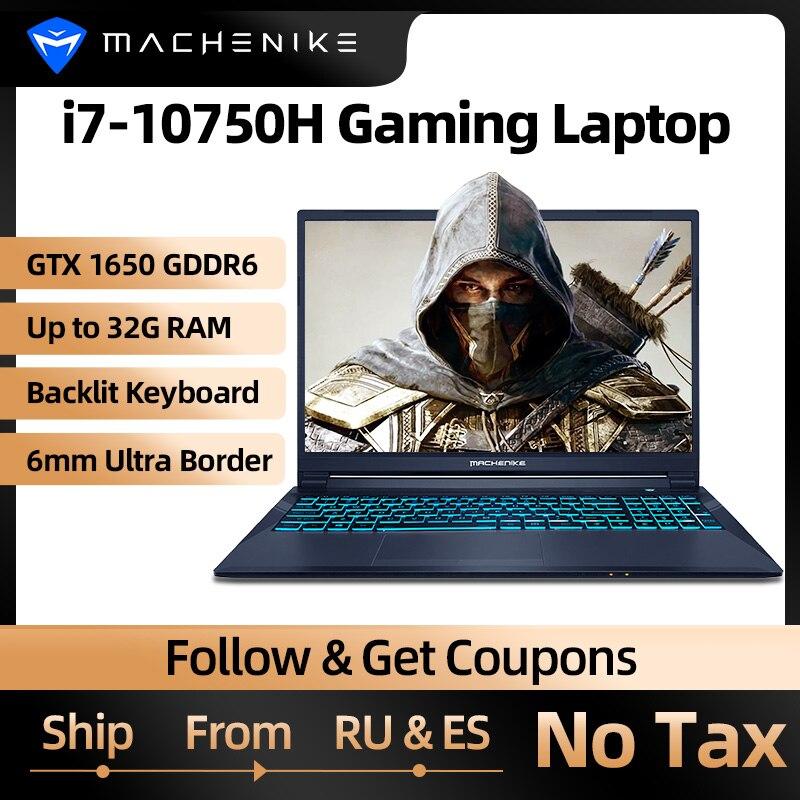 Игровой ноутбук Machenike T90 T58, ноутбук intel i7 10-го поколения 15,6 FHD GTX1650, компьютерные ноутбуки 16 Гб ОЗУ 512 ГБ SSD 1 Тб HDD ноутбук IPS