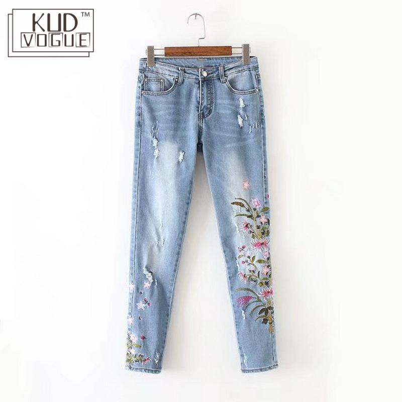 Skinny Pants Europe America Fashion Wind Chrysanthemum Embroidered Jeans Boyfriend Vintage Pencil Pants High Waist DenimTrousers