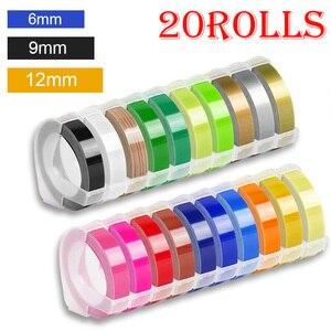 20 рулонов 6/9/12 мм 3D для тиснения, ленты для этикеток из ПВХ, совместимый с Dymo 1610 1880 12965, ручные принтеры этикеток для производителей этикеток ...