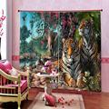 3d занавеска на заказ  занавеска с изображением тигра  леса  креативные занавески для интерьера дома  для спальни  гостиной