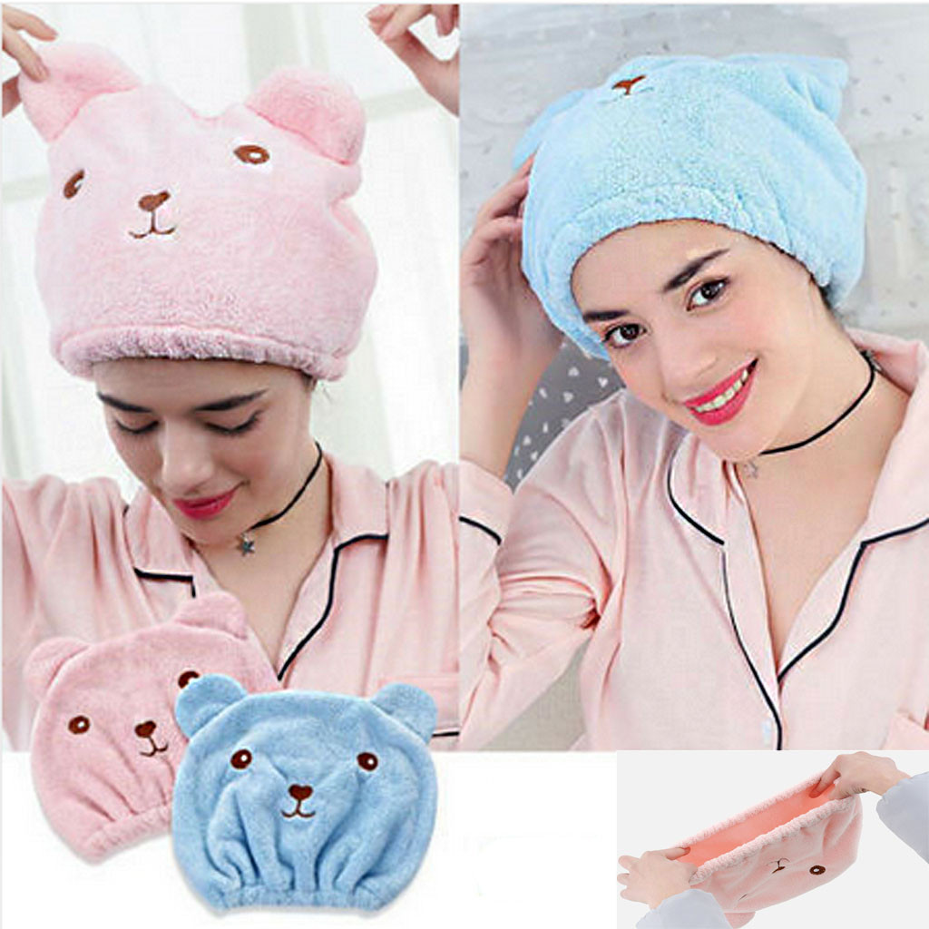 Cute Bear Ear Portable Soft Hair Drying Cap Home Use Hair Bonnet Bathing Cap Shower Caps Home Hats Hair Care Protector Hair Cap