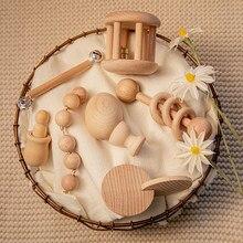 1 conjunto quebra-cabeça brinquedo do bebê mordedor de madeira chocalhos faia geometria de madeira forma crianças presentes produto montessori brinquedos de ensino