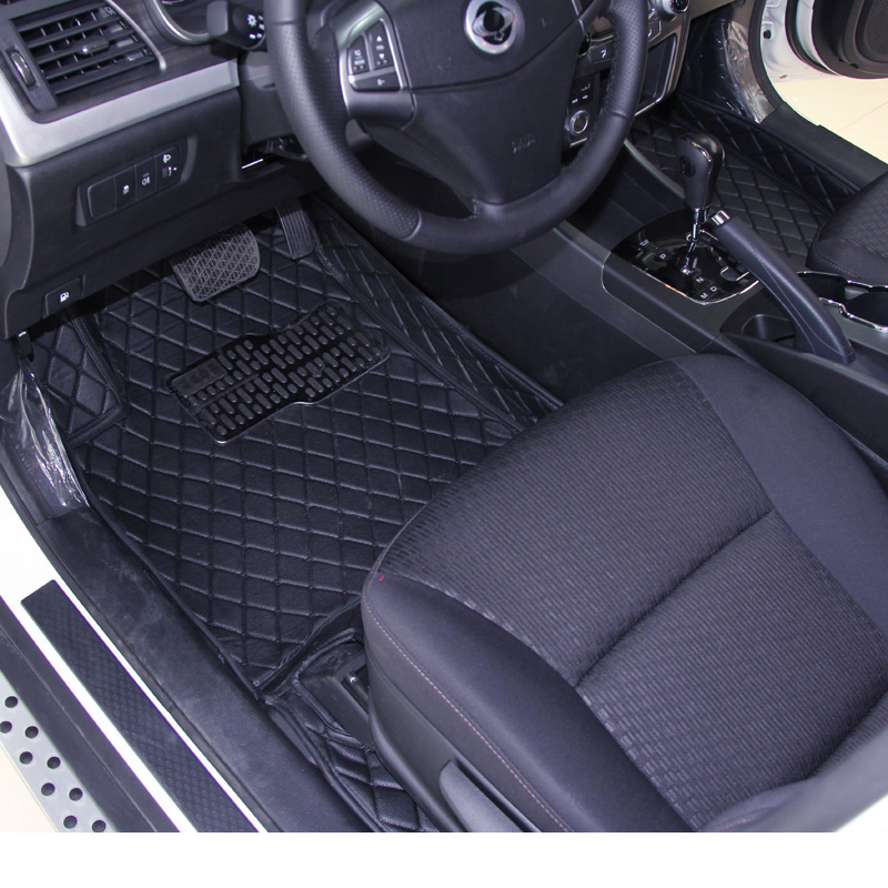 lsrtw2017 leather car floor mat for ssangyong korando actyon sport 2010 2011 2012 2013 2014 2015 2016 2017 2018 2019 accessories image