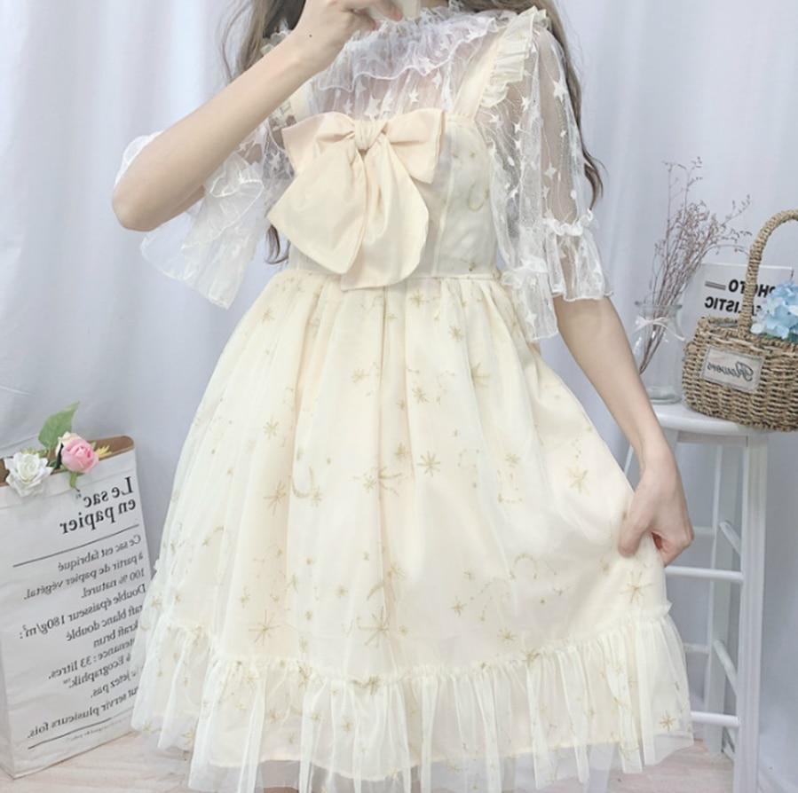 Soft Girl Summer Super Fairy Bow Mesh Embroidery Lolita Daily Sling Dress Female Kawaii Lolita Dress