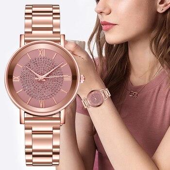 Women Watches 2020 Luxury Diamond Rose Gold Ladies Wrist Watches Magnetic Women Bracelet Watch For Female Clock Relogio Feminino 1