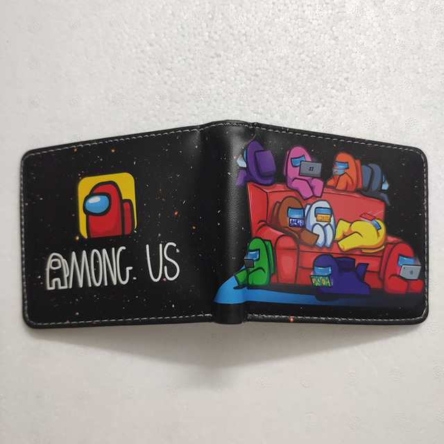Among Us Mens Wallet Leather PU Bifold Short Wallets Men Hasp Vintage Male Purse Coin Pouch Multi-functional Cards Wallet Toys 4