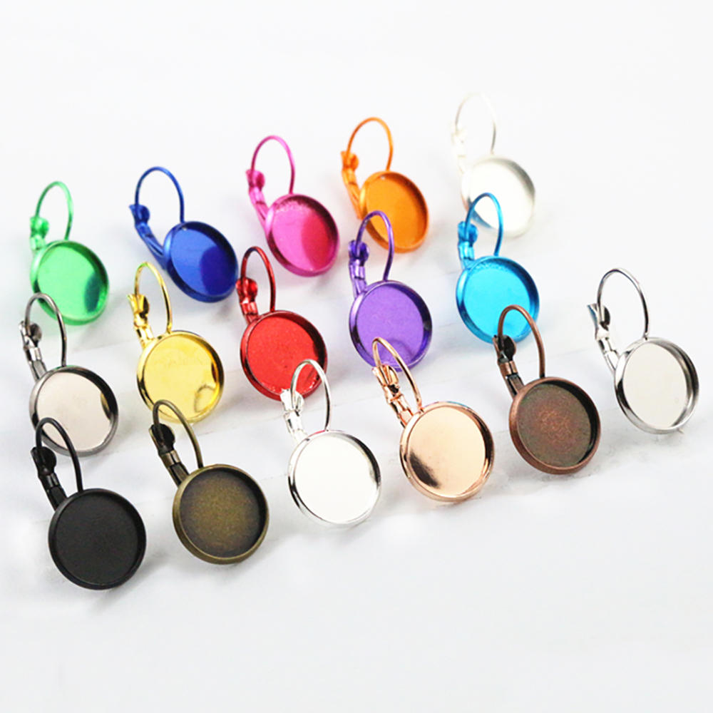 12mm 10pcs 22 Colors Plated French Lever Back Earrings Blank/Base,Fit 12mm Glass Cabochons,Buttons;Earring Bezels