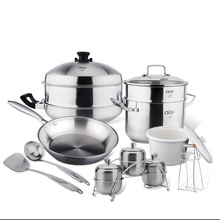 Lxbf/lxbf(Private) Stainless Steel Pot Set 34 Three-layer Steel Wok Set LXBFA619