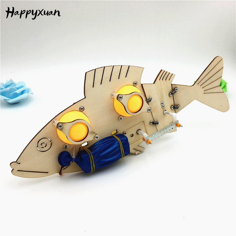 Happyxuan Bionics Toys DIY Electric Mechanical Fish School Science Experiment Projects For Kids Educational STEM Kit Boys Gift