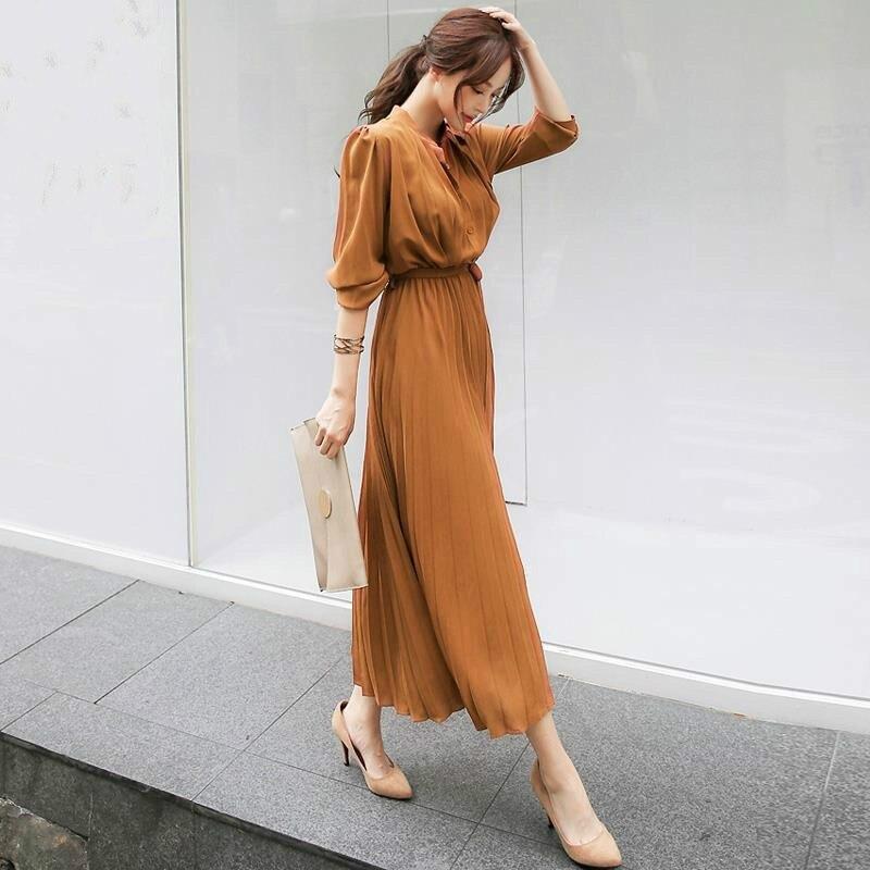 Женское плиссированное платье с длинным рукавом и пуговицами на осень 2019