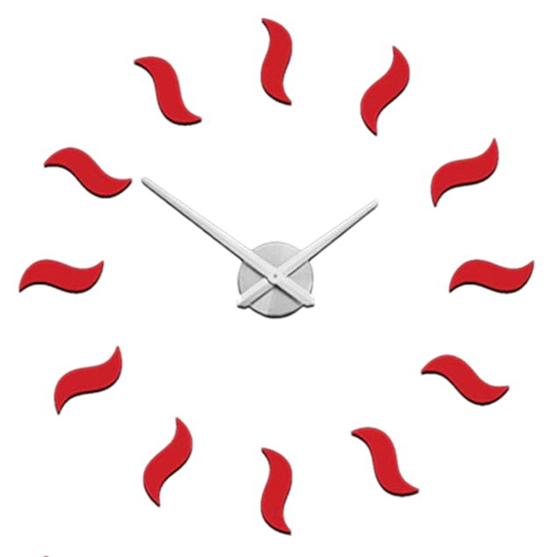 Modern Design Frameless DIY Wall Clock Large Red 3D Quartz Watch Mirror Numbers Clocks For Home Office Decorations B