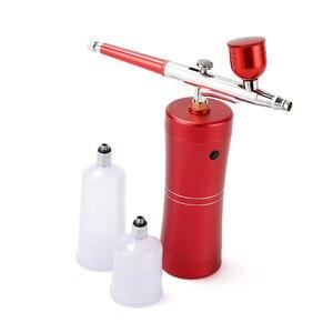 Image 5 - Аэрограф с компрессором, портативный Краскораспылитель для нейл арта, тату, нанесения макияжа, торта, глубокое увлажнение