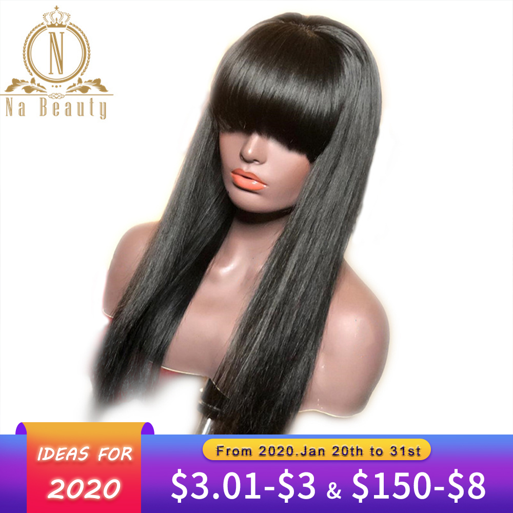 13x6 Lace Front Wigs With Bangs Straight Lace Front Human Hair Wigs For Women Wig Pre Plucked Long Black Remy Hair Nabeauty 180
