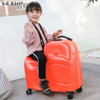 цена на 20''24 inch Children Rolling Luggage Spinner Wheels Suitcase Kids Cabin Trolley luggage Travel Bag Cute Baby Carry On Trunk gift