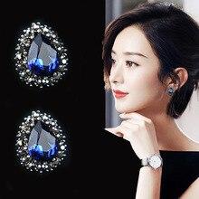 ELIfashion Deluxe Waterdrop Rhinestone Earrings Stud Silver needles for Women Sweet Fashion