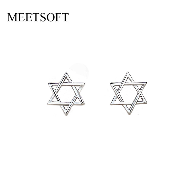 MEETSOFT Silver Plated Prevent Allergy Fashion Stud Earrings for Women Design Trendy Hollow Out Hexagon Star Small Jewelry Gift