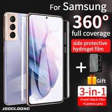 360 cobertura completa filme de hidrogel para samsung galaxy s21 s20 fe mais note20 10 ultra câmera de vidro protetor de tela traseira