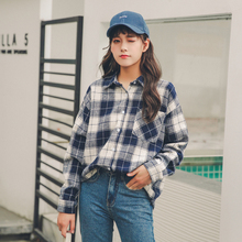 Fashion Womens tops Female Casual Matching Color Long Sleeve Plaid Shirt Top 2019 New Tops