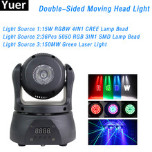 30W LED Pocket Double-Sided Moving Head Light With Beam&Laser DJ Disco Stage Lighting For Home Party Club Bar Nightclub DMX(China)