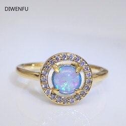 Naturalne 14K żółte złote pierścionki z opalem dla kobiet 2021 moda złota biżuteria czysta Bizuteria kamień Anillos De obrączki luksusowe