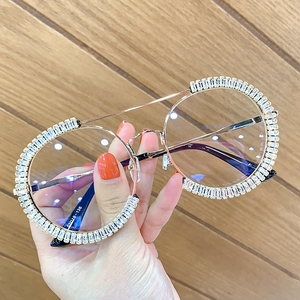Zircon oversized sunglasses 2020 luxury Round sun glasses women Clear lens Eyeglasses Shades For Women oculos feminino