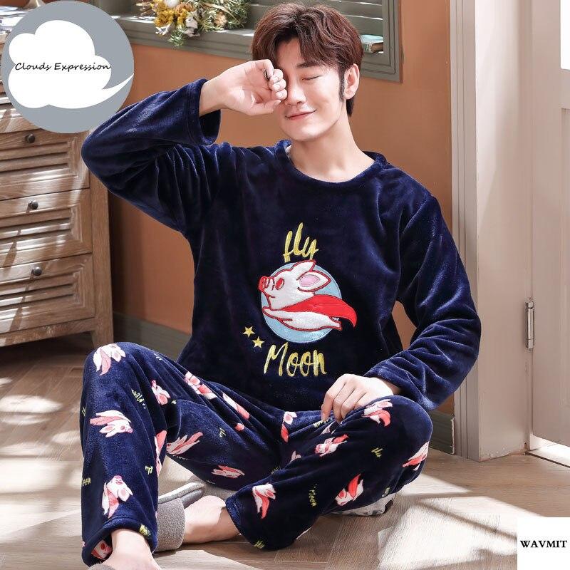 Winter Warm Flannel Pajamas Sets Big Size L-5XL 95kg Sleepwear Long Sleeved Print Long Pant Male Pyjama Set Leisure Homewear