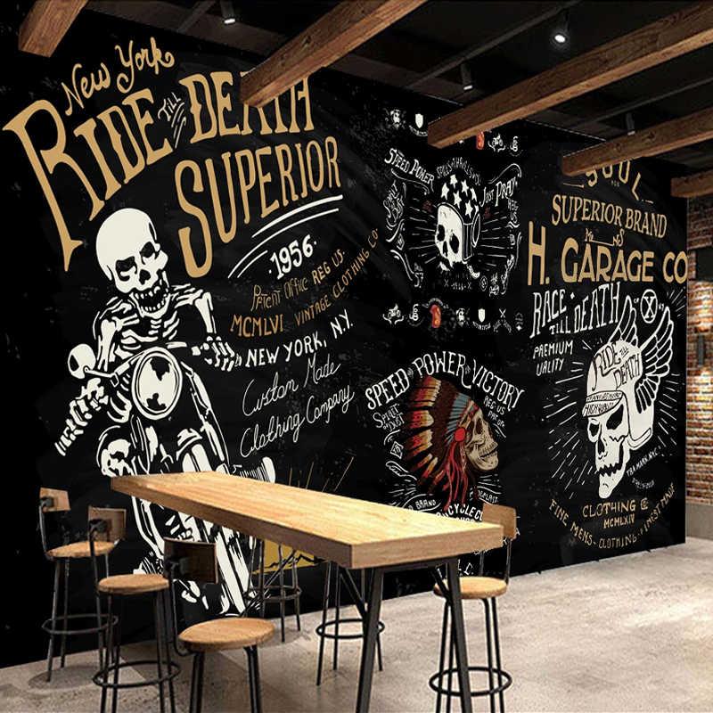 Papel de parede foto customizada 3d, papel de parede europeu retrô nostálgico, preto, grafite, motocicleta, bar, café, restaurante, ktv, papel de parede, mural