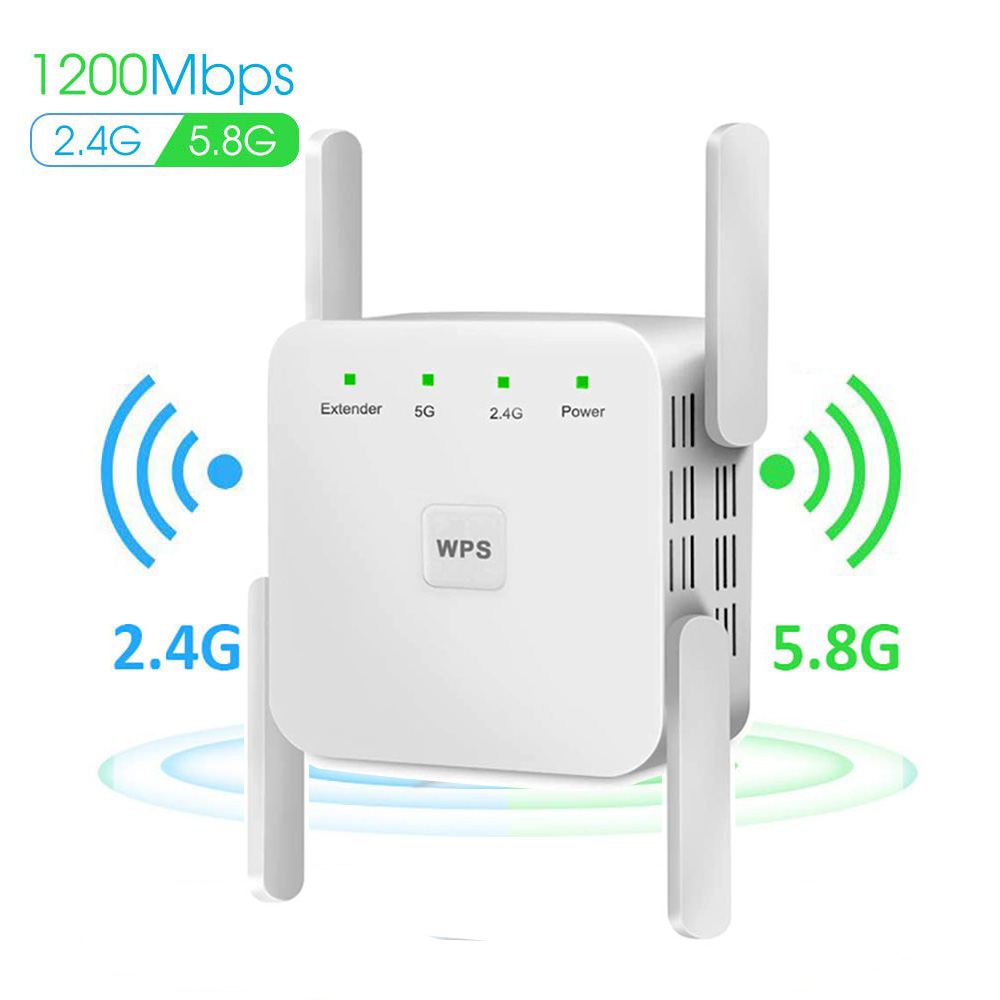 Wireless WiFi Repeater Extender 2.4G/ 5G WiFi Booster 300/1200Mbps Amplifier Large Router Range Signal Repeator Access Point