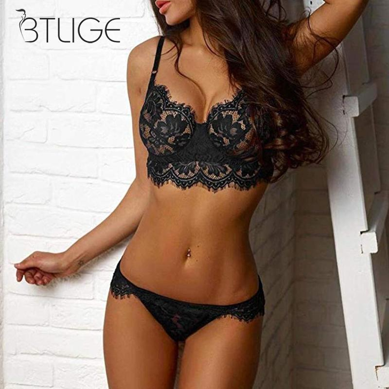 Sexy Lingerie Bra Set Wire Free Sexy Cup Ab Lace Top Black Lace Underwear Set Exotic Apparel