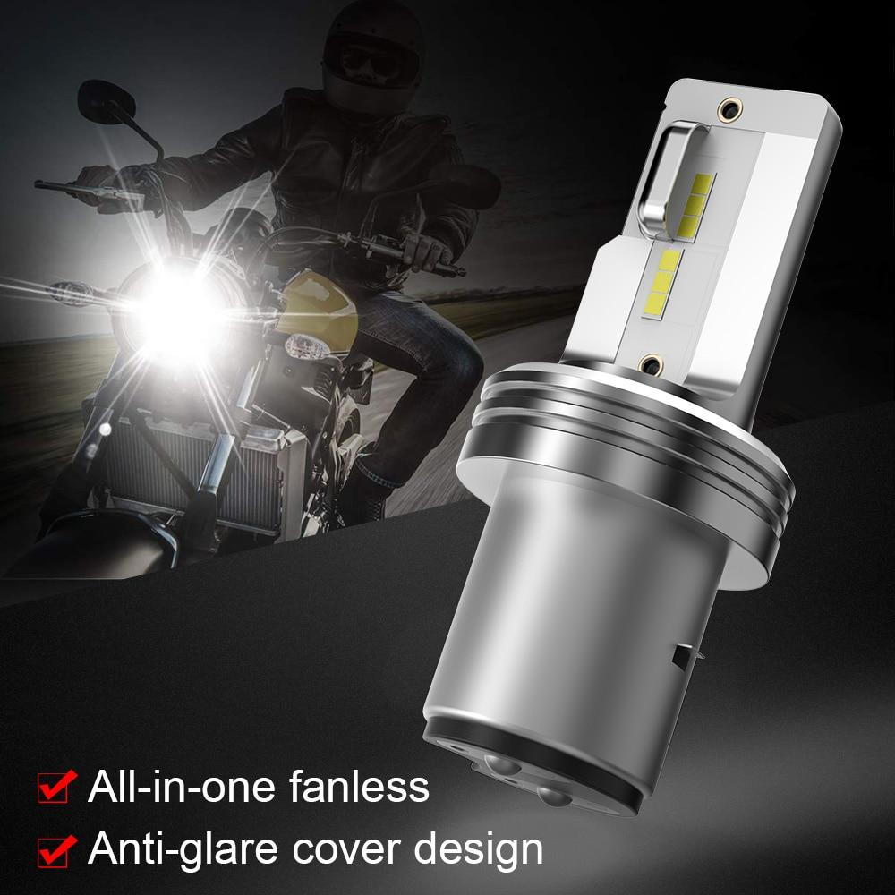 2PCS H6 Led Headlight BA20D Motorcycle Headlight Bulb 18W  1000LM High Low Beam  6000K White